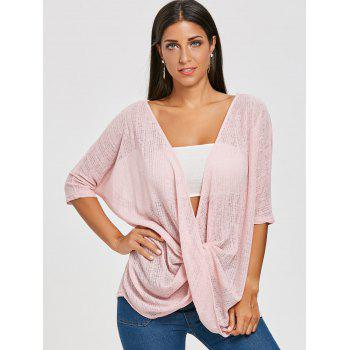 Front Wrap Blouse - PINK XL