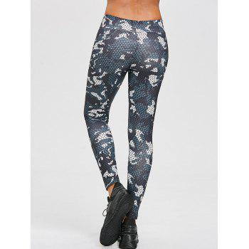 Geometric Print Ninth Leggings - COLORMIX L