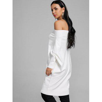 Kintted Off The Shoulder Batwing Sleeve Dress - WHITE WHITE