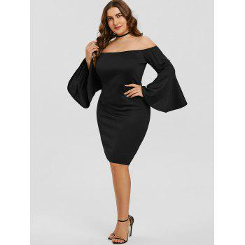 Off The Shoulder Plus Size Formal Dress - BLACK 3XL