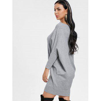 Kintted Off The Shoulder Batwing Sleeve Dress - GRAY L