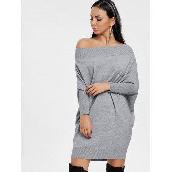 Kintted Off The Shoulder Batwing Sleeve Dress - GRAY GRAY