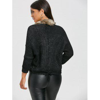Faux Fur Trimmed Batwing Sleeve Cardigan - BLACK ONE SIZE