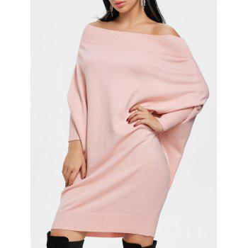 Kintted Off The Shoulder Batwing Sleeve Dress - PINK PINK