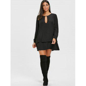 Long Sleeve Front Cut Out Layered Dress - BLACK XL