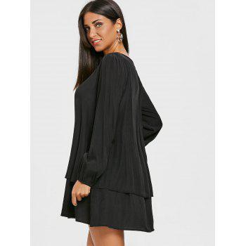Long Sleeve Front Cut Out Layered Dress - BLACK L