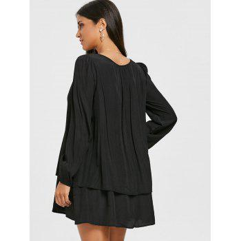 Long Sleeve Front Cut Out Layered Dress - BLACK M