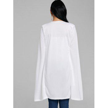 Padded Shoulder Cape Duster Coat - WHITE S