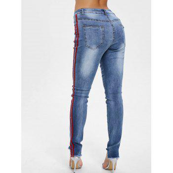 Raw Hem Ripped Side Stripe Jeans - DENIM BLUE DENIM BLUE