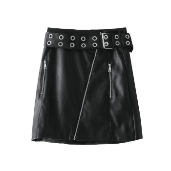 Zip Up Faux Leather Studded Mini Skirt - BLACK XS