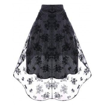 Ruched High Low Floral Party Skirt - BLACK 2XL