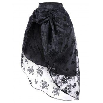 Ruched High Low Floral Party Skirt - BLACK M