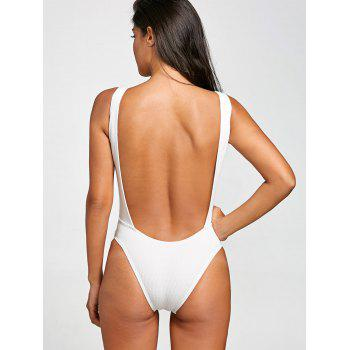 No Pad High Leg Ribbed One Piece Swimwear - WHITE L