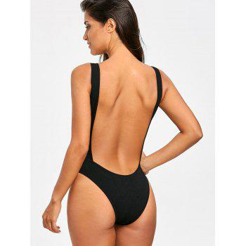No Pad High Leg Ribbed One Piece Swimwear - BLACK L