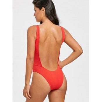 No Pad High Leg Ribbed One Piece Swimwear - RED L