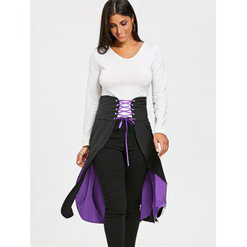 Lace Up Split Gothic Overlay Skirt - PURPLE M