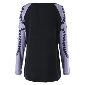 Plus Size Polka Dot Printed Raglan Sleeve T-shirt - BLACK 2XL