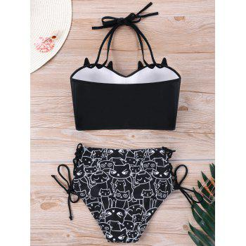 Plus Size Cat Print Bikini Set - BLACK XL