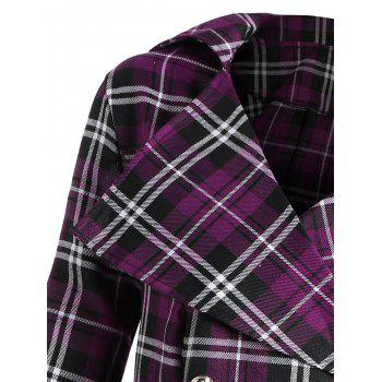 Double Breasted Plus Size Plaid Coat - PURPLE XL