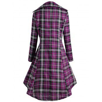 Double Breasted Plus Size Plaid Coat - PURPLE 3XL