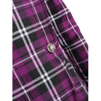 Double Breasted Plus Size Plaid Coat - PURPLE PURPLE