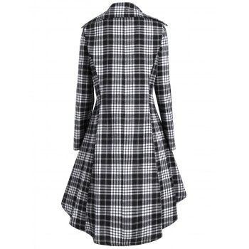 Double Breasted Plus Size Plaid Coat - BLACK WHITE BLACK WHITE