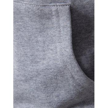 Color Block Drawstring Pullover Hoodie - GRAY M