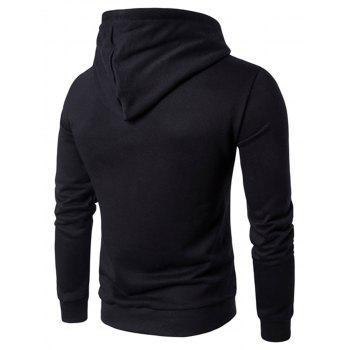Graphic Applique Pullover Hoodie - BLACK 2XL