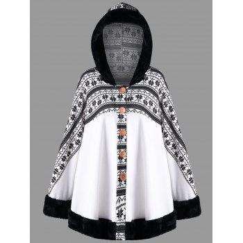 Snowflake Printed Hooded Cape Coat - WHITE WHITE