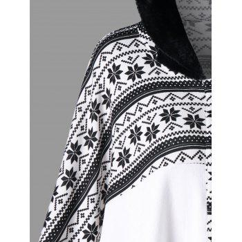 Snowflake Printed Hooded Cape Coat - WHITE 2XL