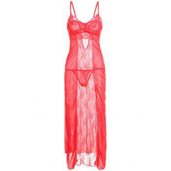 Ruched Lace Mesh Long Slip Dress - RED RED