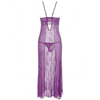 Ruched Lace Mesh Long Slip Dress - PURPLE ONE SIZE
