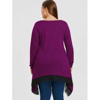 Plus Size Lace Trim Sharkbite Tunic T-shirt - PURPLE 4XL