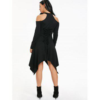 Long Sleeve Cut Out Asymmetrical Handkerchief Dress - BLACK L