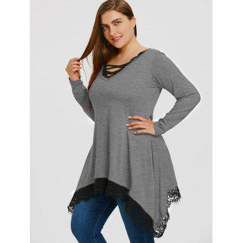 Plus Size Lace Trim Sharkbite Tunic T-shirt - GRAY 4XL
