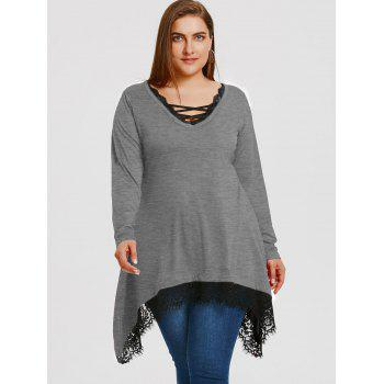 Plus Size Lace Trim Sharkbite Tunic T-shirt - GRAY XL