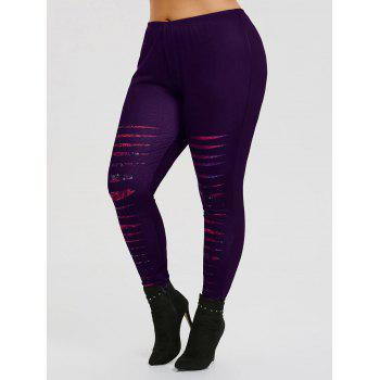 Ripped Rose Printed Plus Size Workout Leggings - PURPLE XL