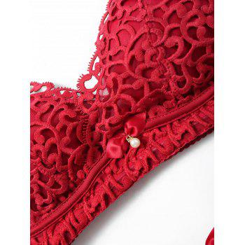 Lingerie Appliques Padded Bra Set - WINE RED 75B