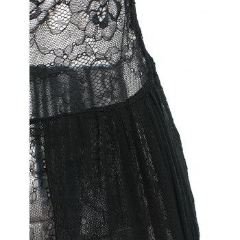 Mesh Sheer Overlay Lace Long Dress - BLACK ONE SIZE