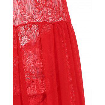 Mesh Sheer Overlay Lace Long Dress - RED RED