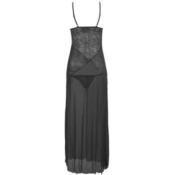 Lace Slit Long Mesh Lingerie Dress - BLACK BLACK