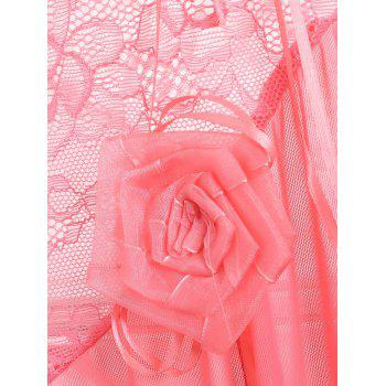 Dentelle Slit Long Mesh Lingerie Dress - Rose Léger ONE SIZE