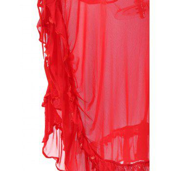 Mesh Ruffles Slip Maxi Babydoll - RED ONE SIZE