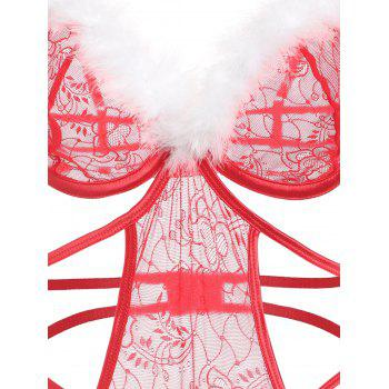 Feathers Trim Cut Out Lingerie Slip Teddy - RED XL