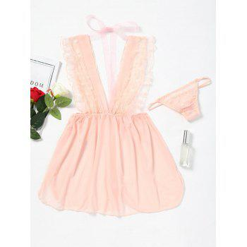 Mesh Plunge Neck Ruffled Babydoll - LIGHT PINK LIGHT PINK