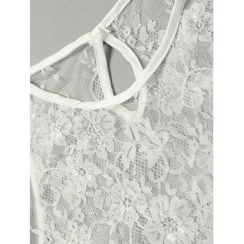 Lace Sheer Keyhole Back Lingerie Set - WHITE ONE SIZE