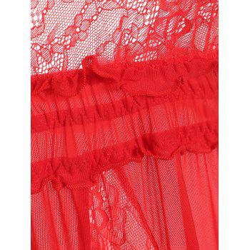 Lace Insert Mesh Long Lingerie Dress - RED ONE SIZE