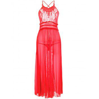 Lace Insert Mesh Long Lingerie Dress - RED RED