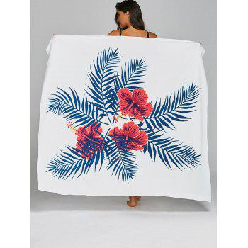 Flower Leaves Pattern Summer Beach Throw - WHITE ONE SIZE