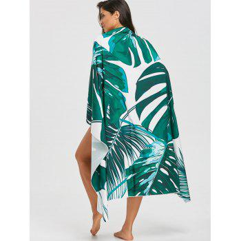 Tropical Leaves Print Sunbath Beach Throw - GREEN ONE SIZE